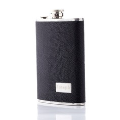 Personalized Deep Black Stainless Steel Flask (118030664)