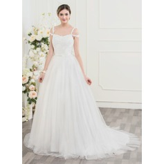 Ball-Gown Sweep Train Tulle Lace Wedding Dress With Beading Sequins Bow(s)