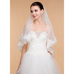 One-tier Lace Applique Edge Elbow Bridal Veils With Lace (006096811)