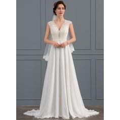 Forme Princesse Col V Balayage/Pinceau train Mousseline Robe de mariée