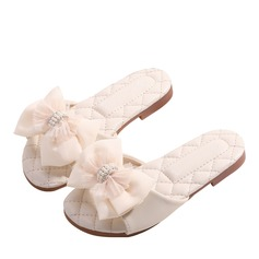 Girl's Round Toe Leatherette Flats With Bowknot