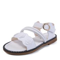 Muchacha Cerrados Kunstleder Talón plano Sandalias Planos Zapatos de niña de las flores con Velcro