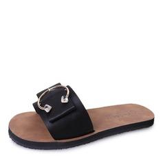 Женщины кожа Плоский каблук Сандалии На плокой подошве Открытый мыс Босоножки Тапочки с горный хрусталь Баттон обувь