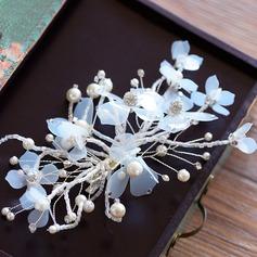 сплав/шелковые цветы заколки с горный хрусталь/искусственный жемчуг (Продается в виде единой детали)