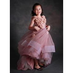 Ball Gown Asymmetrical Flower Girl Dress - Tulle/Tribute silk Sleeveless Scoop Neck With Flower(s)