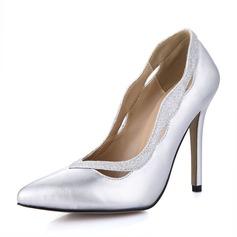 Couro Salto agulha Bombas Fechados com Espumante Glitter sapatos (085067281)