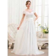 A-linjeformat Rund-urringning Sweep släp Tyll Spetsar Bröllopsklänning med Pärlbrodering Paljetter