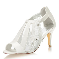 Women's Silk Like Satin Stiletto Heel Peep Toe Sandals With Stitching Lace Flower Crystal