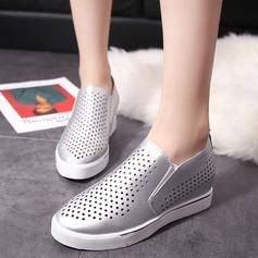 Frauen PU Keil Absatz Geschlossene Zehe Keile Schuhe