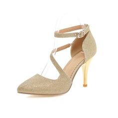 Frauen Kunstleder Stöckel Absatz Absatzschuhe Geschlossene Zehe Schuhe