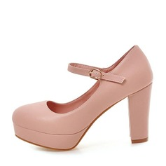 Women's Leatherette Chunky Heel Pumps Platform shoes (117125154)