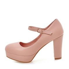 Mulheres Couro Salto robusto Bombas Plataforma sapatos (117125154)