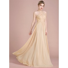 A-Line/Princess Scoop Neck Floor-Length Chiffon Prom Dress With Beading Sequins (018112637)