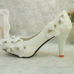 Vrouwen Kunstleer Stiletto Heel Closed Toe met Stitching Lace