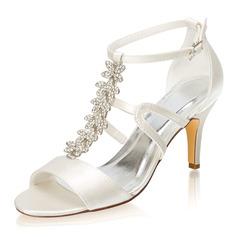 Kadın İpeksi Saten İnce Topuk Peep Toe Sandalet Ile Toka Yapay elmas