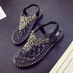 Women's Leatherette Flat Heel Sandals Flats Flip-Flops With Sequin shoes