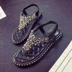 Женщины кожа Плоский каблук Сандалии На плокой подошве Вьетнамки с блестками обувь