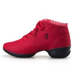 Женщины Ткань На каблуках Танцевальные кроссовки с Шнуровка Обувь для танцев