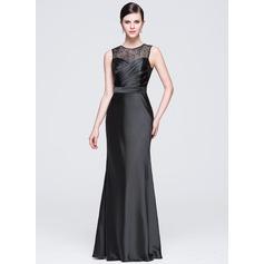 Sheath/Column Scoop Neck Floor-Length Satin Lace Evening Dress With Ruffle