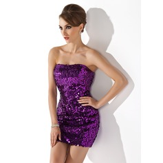 Sheath/Column Strapless Short/Mini Sequined Cocktail Dress