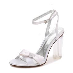 Women's Silk Like Satin Chunky Heel Peep Toe Pumps Sandals Slingbacks MaryJane With Bowknot Buckle