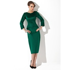 Sheath/Column Scoop Neck Tea-Length Satin Mother of the Bride Dress