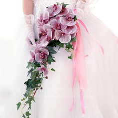 Fascinante Cascada Seda artificiales Ramos de novia -