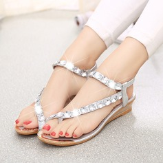 Women's Leatherette Wedge Heel Sandals Peep Toe Slingbacks With Rhinestone Jewelry Heel Elastic Band shoes (087121495)