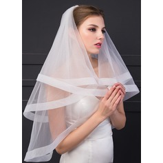 One-tier Ribbon Edge Fingertip Bridal Veils (006150923)