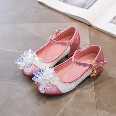 Mädchens Round Toe Geschlossene Zehe Leder niedrige Ferse Flache Schuhe Sneakers & Sport Blumenmädchen Schuhe mit Schnalle Funkelnde Glitzer Blume