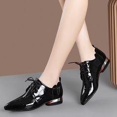 Women's Patent Leather Low Heel Flats أحذية (086211877)