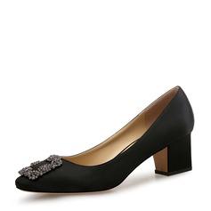 Frauen Satin Stämmiger Absatz Absatzschuhe Geschlossene Zehe mit Schnalle Schuhe