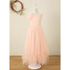 Corte A Longuete Vestidos de Menina das Flores - Tecido de seda/Organza de Sem magas Decote quadrado com fecho de correr