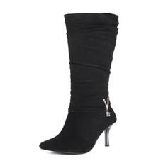Frauen Veloursleder Stöckel Absatz Absatzschuhe Stiefel Kniehocher Stiefel mit Strass Andere Schuhe