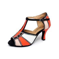 Mulheres Couro Saltos Sandálias Latino com Strass Correia -T Sapatos de dança