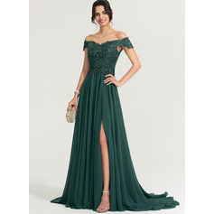 A-Line Off-the-Shoulder Sweep Train Chiffon Prom Dresses With Sequins Split Front (018186896)