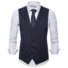 Stripe Polyester Viscose Men's Vest