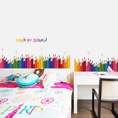 Color Pencil Baseboard Skirting Wall Stickers Draw Colorful Life (Sold in a single piece)