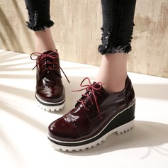 Women's Patent Leather Wedge Heel Closed Toe Wedges With Lace-up shoes