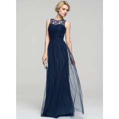 A-Line/Princess Scoop Neck Floor-Length Tulle Evening Dress With Ruffle Lace (017086889)
