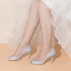 Women's Sparkling Glitter Stiletto Heel Peep Toe