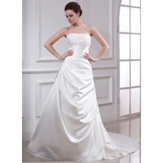 Corte A/Princesa Estrapless Cola capilla Satén Vestido de novia con Volantes Bordado Los appliques Encaje