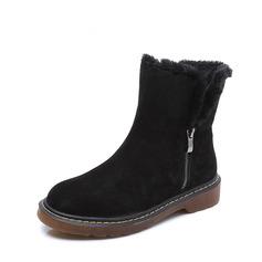 Femmes Suède Talon bas Plateforme Bottes Bottes neige avec Zip Fausse Fourrure chaussures