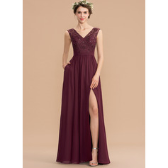 A-Line V-neck Floor-Length Chiffon Lace Bridesmaid Dress With Beading Sequins Split Front Pockets (007176780)