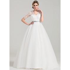 De baile Decote V Cauda de sereia Tule Vestido de noiva com Cintos Beading Curvado