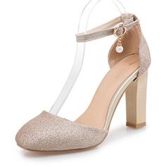 Kvinnor Glittrande Glitter Tjockt Häl Sandaler Pumps Stängt Toe med Spänne skor