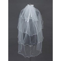Cuatro capas Velos de novia vals con Recortada