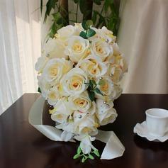 Lindo Redondo Cetim/Seda artificiais Buquês de noiva -
