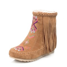 Women's Suede Flat Heel Flats Closed Toe Boots Ankle Boots Snow Boots With Tassel Others shoes