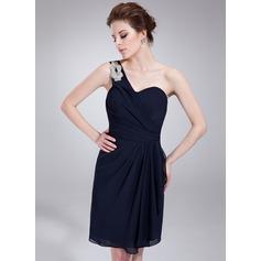 A-Line/Princess One-Shoulder Knee-Length Chiffon Homecoming Dress With Beading Cascading Ruffles